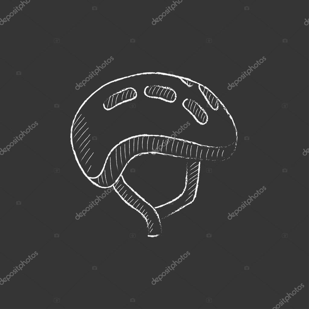 Bicycle Helmet Drawn In Chalk Icon Stock Vector C Rastudio