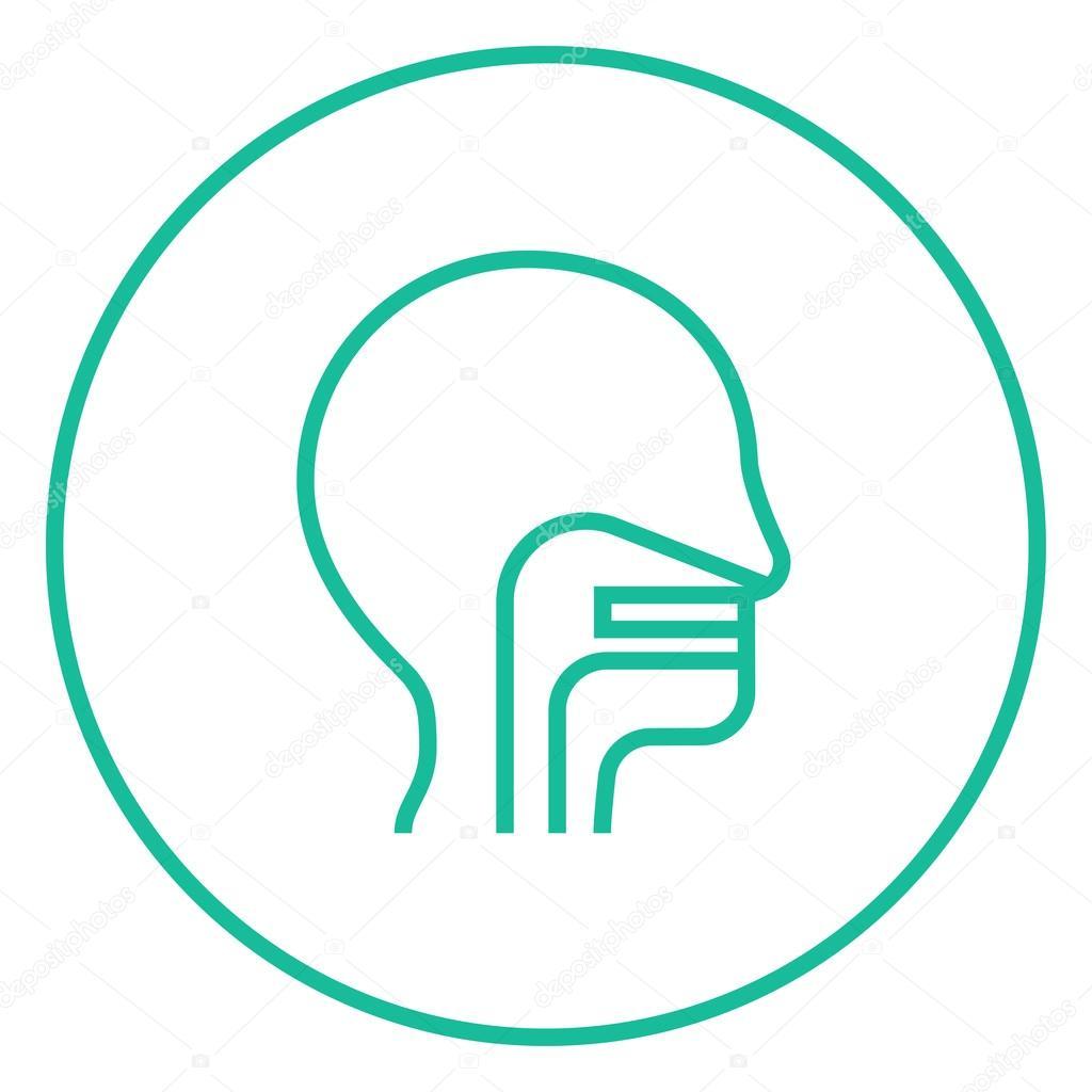 Menschlicher Kopf mit Ohr, Nase, Rachen-Symbol in der Zeile ...