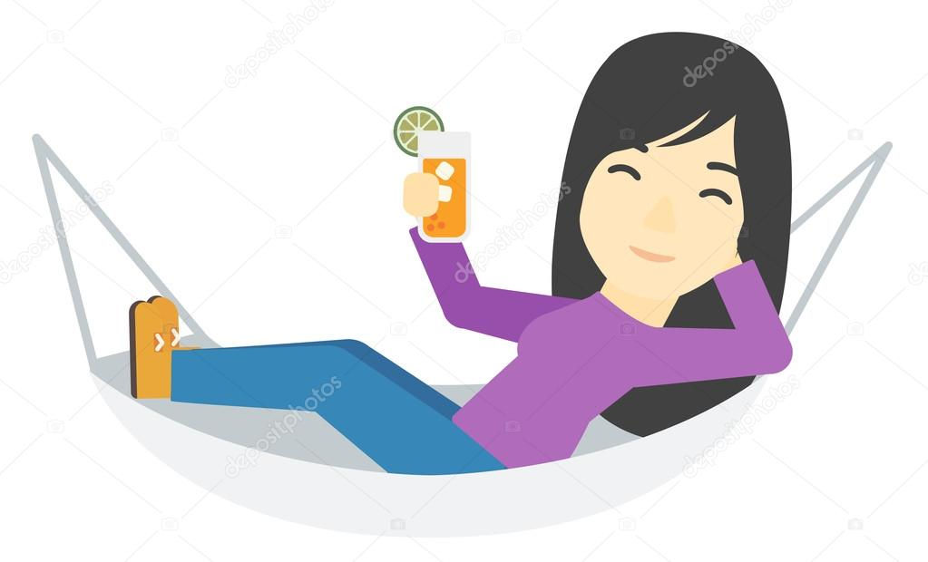 An Asian Woman Lying In A Hammock And Holding Cocktail Vector Flat Design Illustration Isolated On White Background By Rastudio