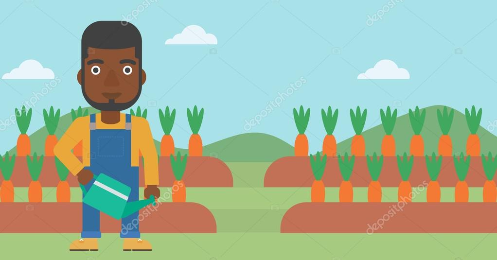 Farmer with watering can.