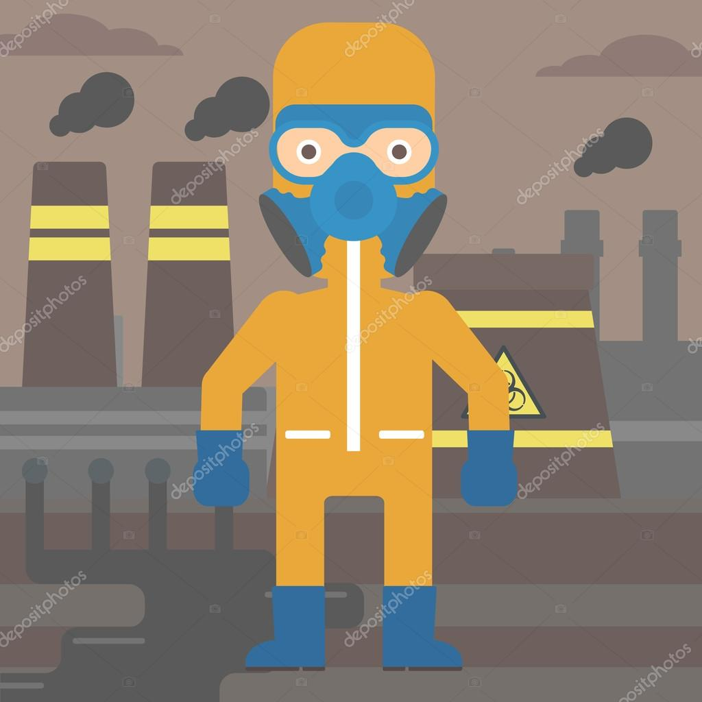 Mann In Chemische Schutzanzug Stockvektor Rastudio 108268780 Nuclear Power Plant Diagram Animation A Man Wearing Protective Chemical Suit For Toxic Atmosphere On Background Of Vector Flat Design Illustration Square Layout