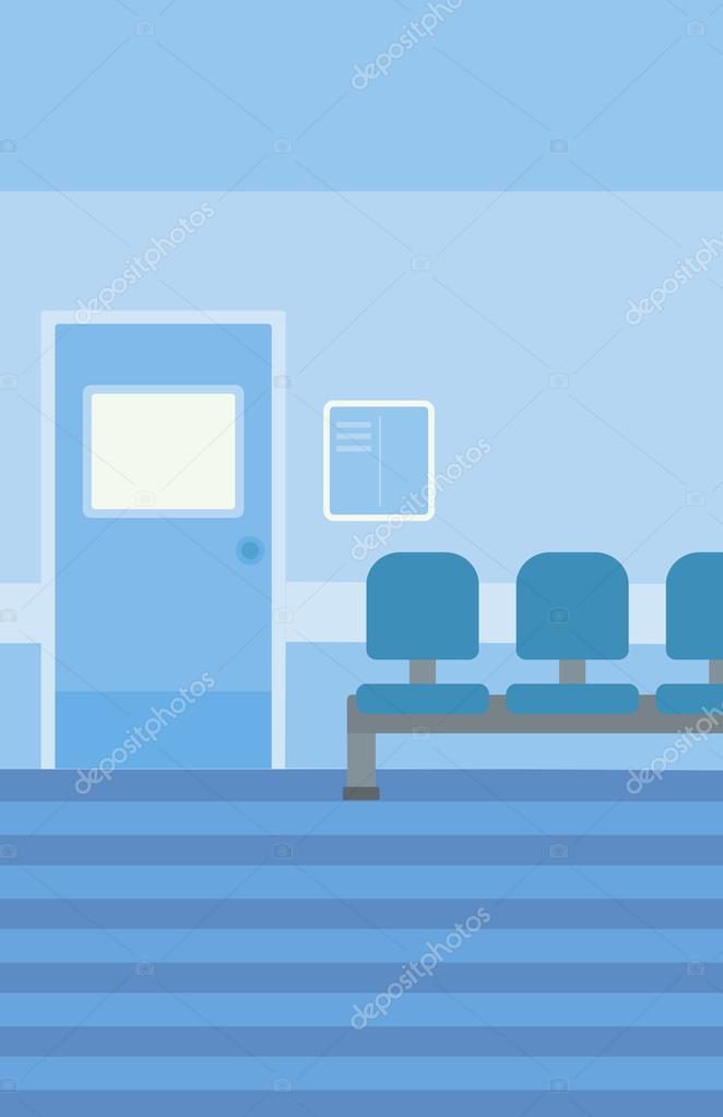 background of hospital corridor with chairs and door vector flat design illustration vertical layout vektor von rastudio