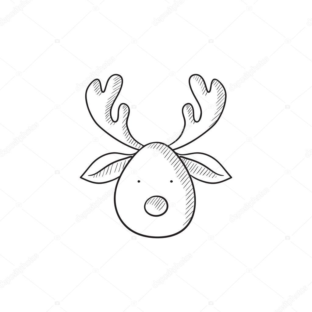 Weihnachten Hirsch skizzieren Symbol — Stockvektor © rastudio #112204166