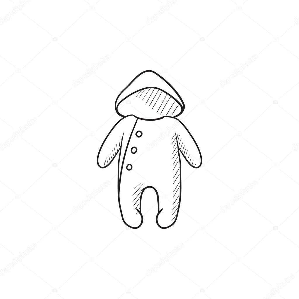 2443397f337c Baby rompers vector sketch icon isolated on background. Hand drawn Baby  rompers icon. Baby rompers sketch icon for infographic