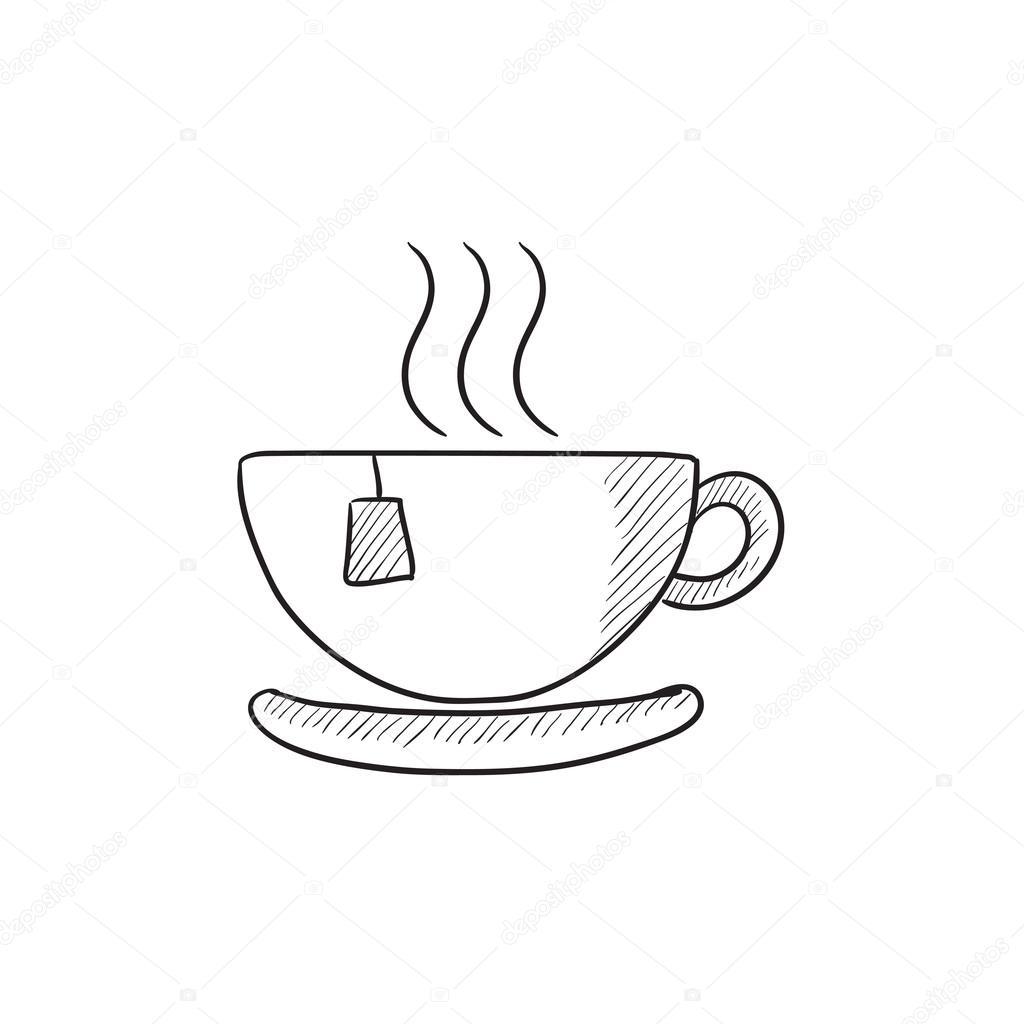 no ícone de desenho de xícara de chá quente vetores de stock