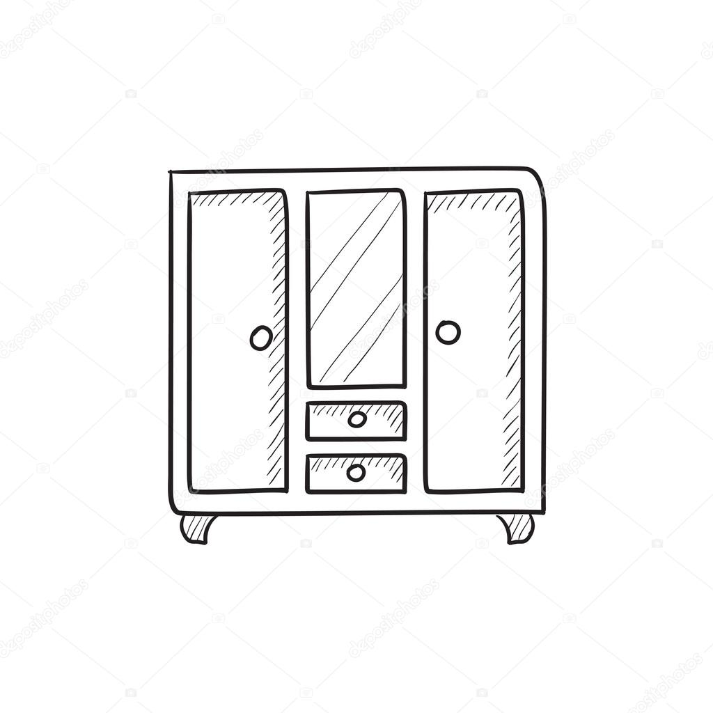 hand mirror sketch. Wardrobe With Mirror Vector Sketch Icon Isolated On Background. Hand Drawn Icon. For Infographic,