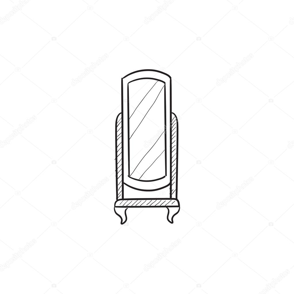 swivel mirror on stand sketch icon u2014 stock vector