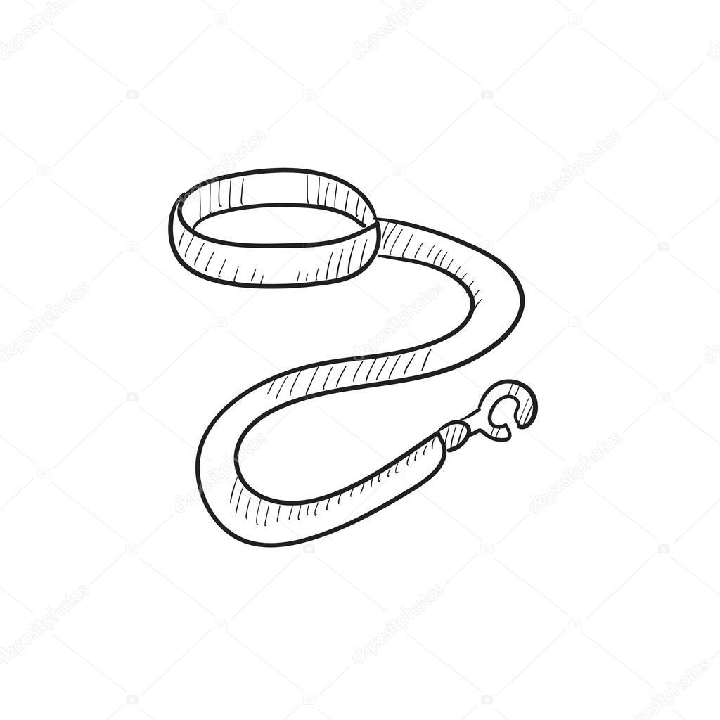 collier et laisse chien dessin ic u00f4ne  u2014 image vectorielle