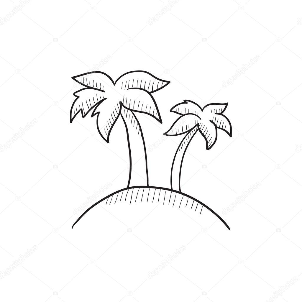 Deux palmiers sur l 39 le de dessin ic ne image vectorielle rastudio 112227718 - Dessin de palmier ...