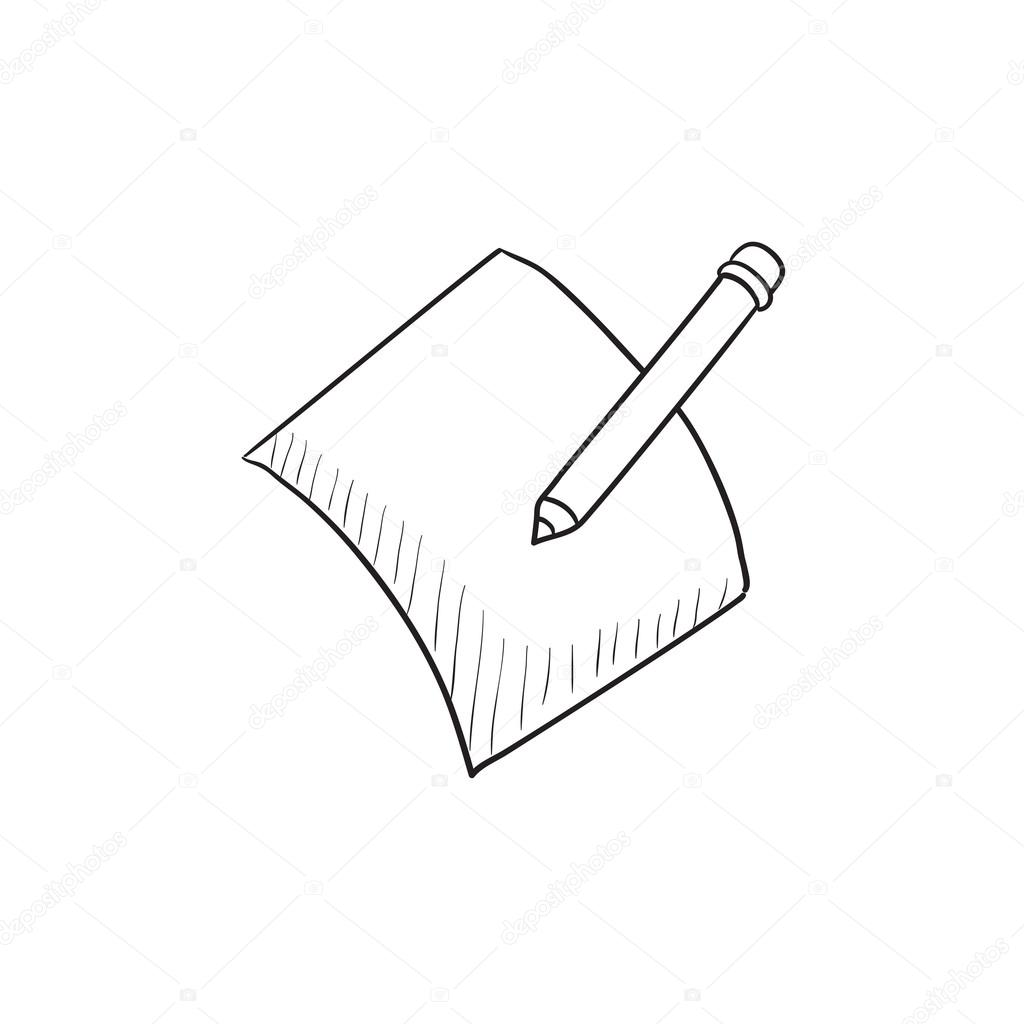 Pencil and document vector sketch icon isolated on background hand drawn pencil and document icon pencil and document sketch icon for infographic website