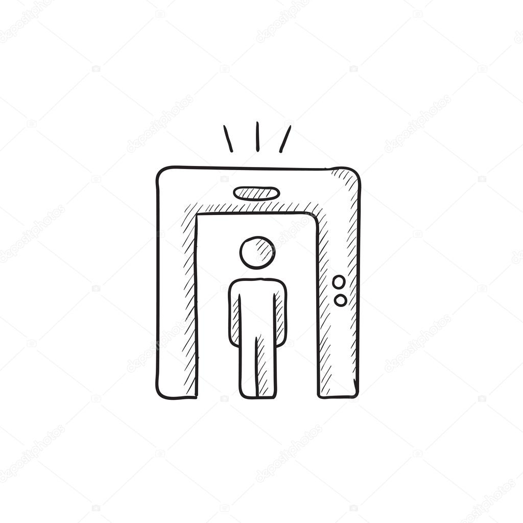 Jew Detector: Man Going Through Metal Detector Gate Sketch Icon.