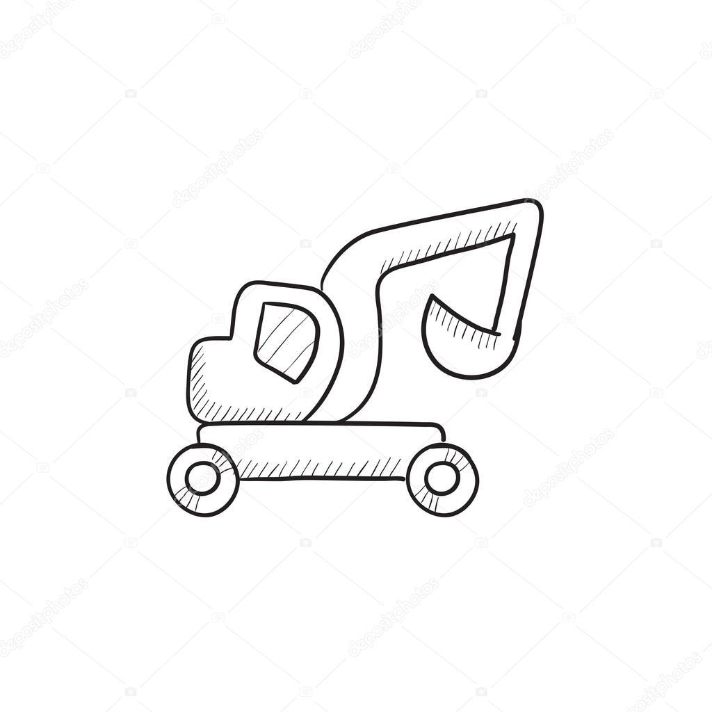 Excavator Truck Sketch Icon Stock Vector C Visualgeneration
