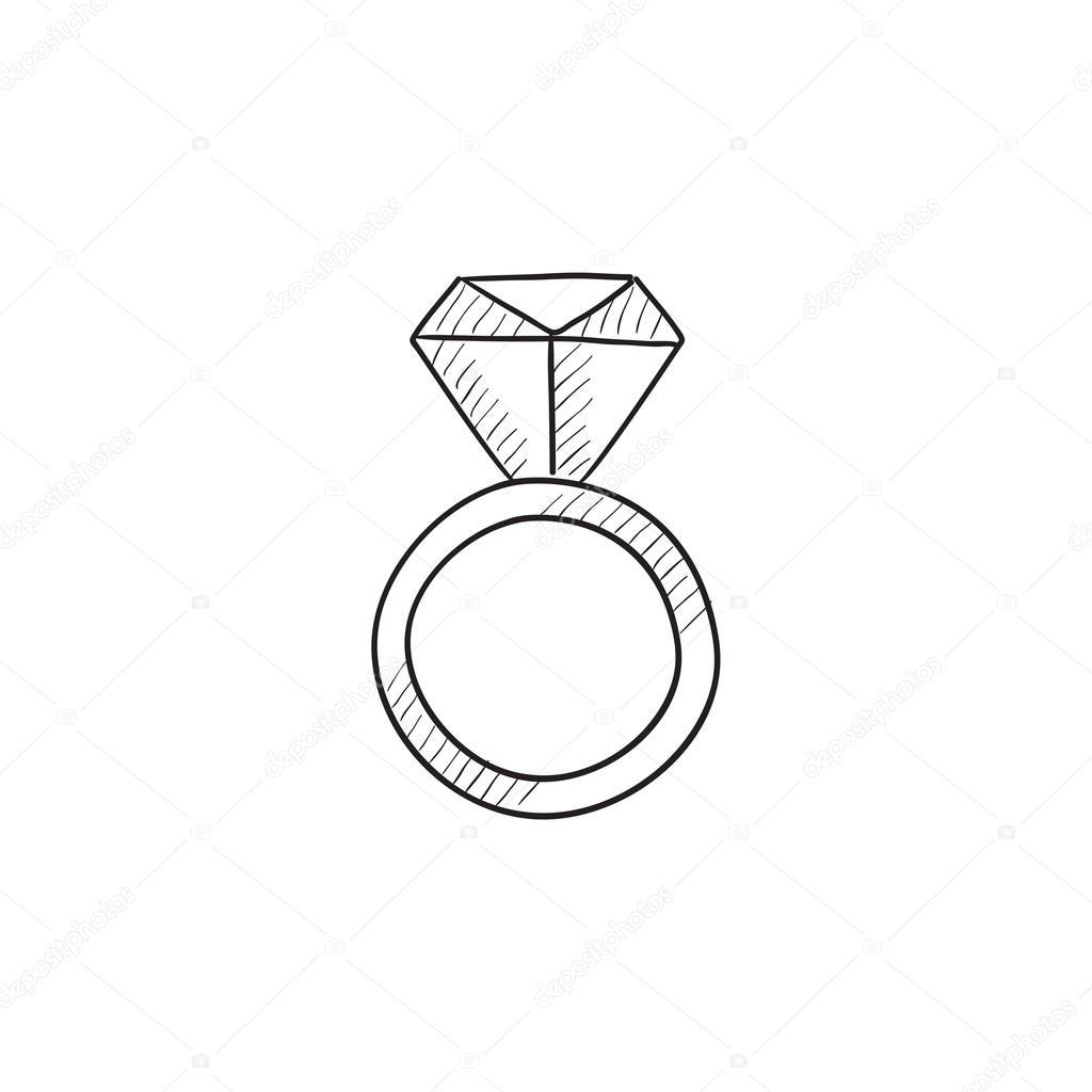 mitad de descuento buscar el más nuevo ropa deportiva de alto rendimiento Anillo de compromiso con icono de esbozo de diamante ...