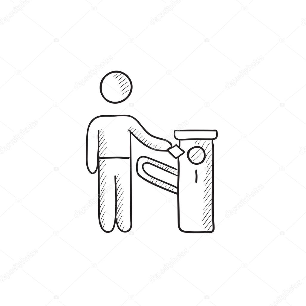 Mann am Auto-Barriere-Skizze-Symbol — Stockvektor © rastudio #112234372