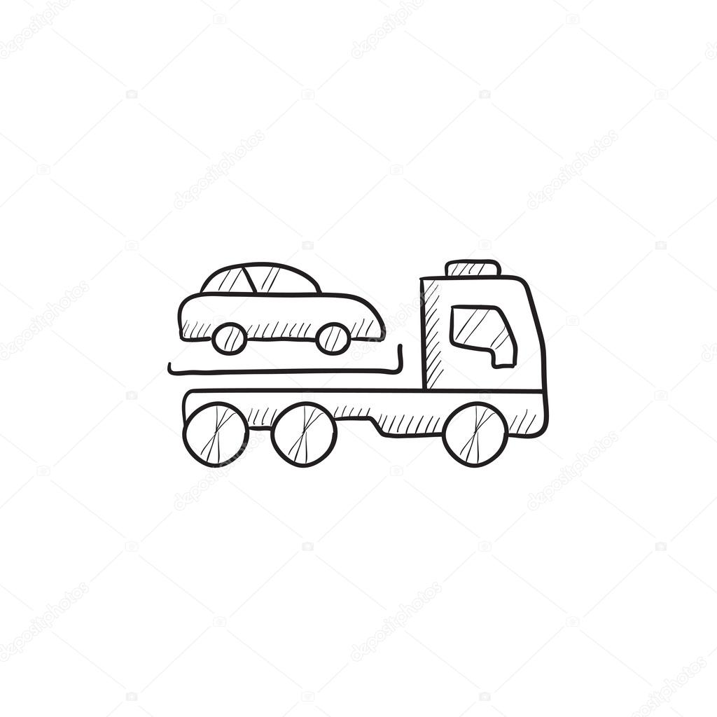 Auto Abschleppen LKW Skizze Symbol — Stockvektor © rastudio #112234806