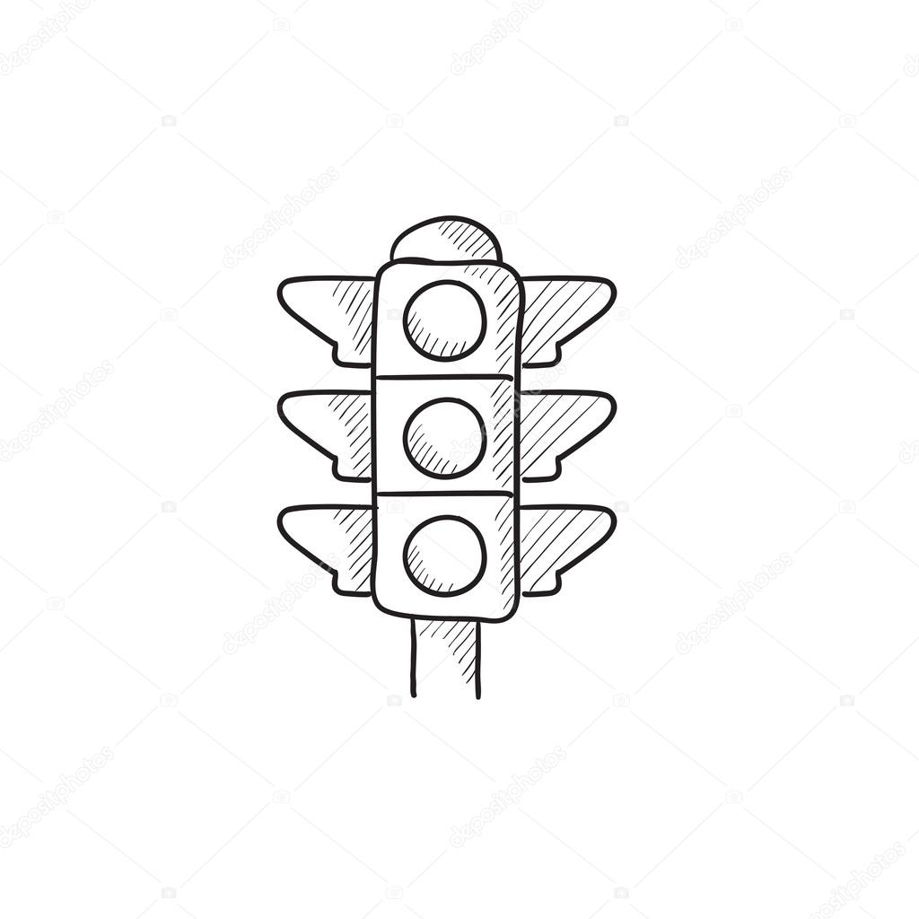 Traffic light sketch icon. — Stock Vector © rastudio #112239552 for Traffic Light Sketch  157uhy