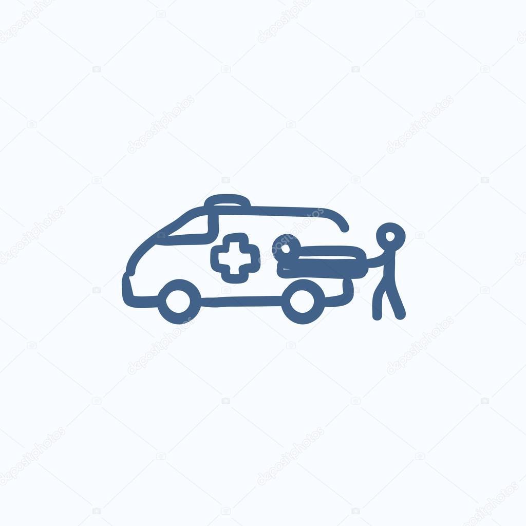 Mann mit Symbol für Patient und Krankenwagen-Auto-Skizze ...