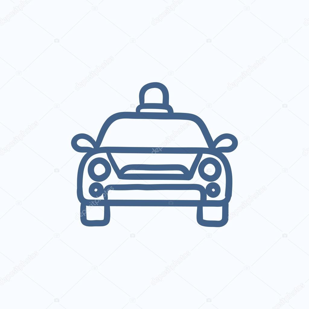 Polizei-Auto-Skizze-Symbol — Stockvektor © rastudio #113176498