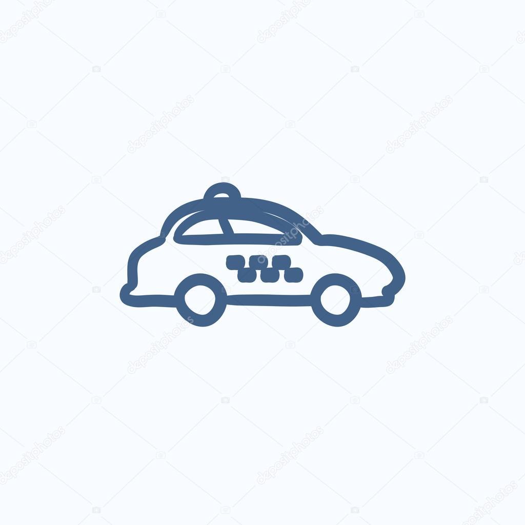Taxi-Auto-Skizze-Symbol — Stockvektor © rastudio #113195190