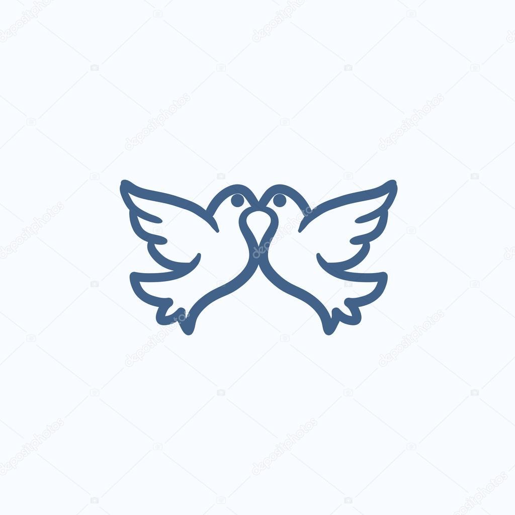 Hochzeit Tauben Skizzieren Symbol Stockvektor C Rastudio 113195386