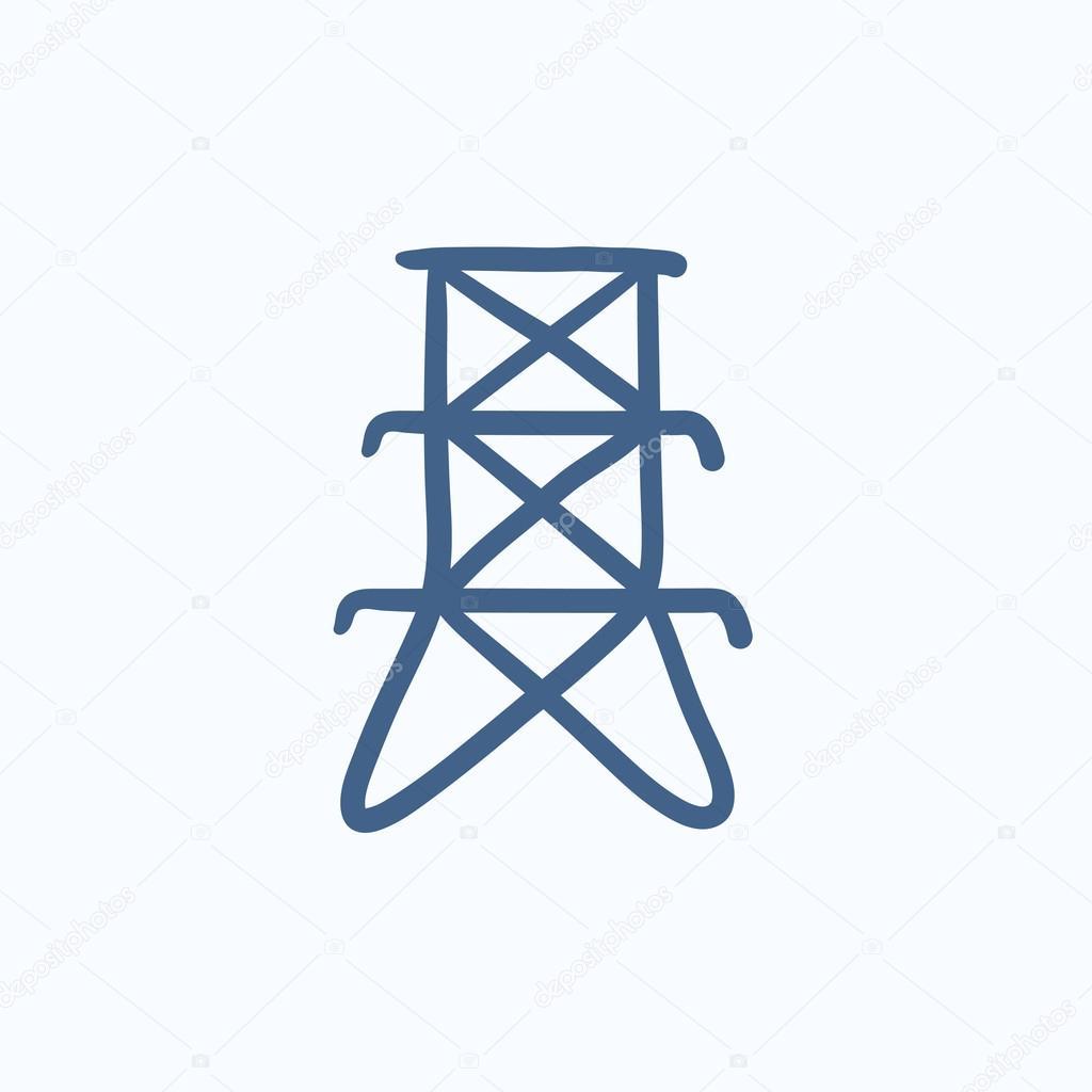 Elektro-Turm-Skizze-Symbol — Stockvektor © rastudio #113284112