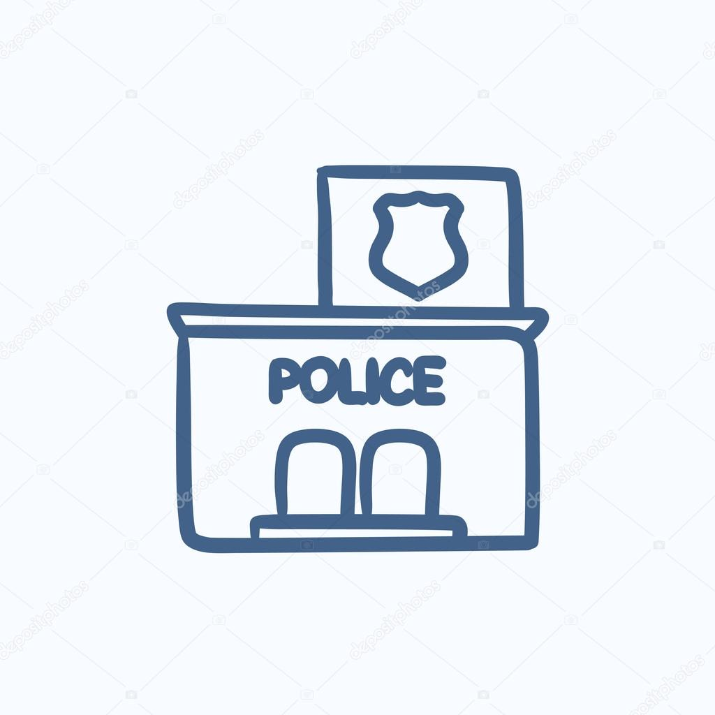 Police Station Sketch Icon Stock Vector Rastudio 113300880