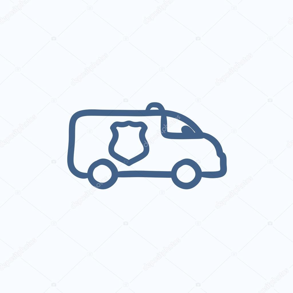 Polizei-Auto-Skizze-Symbol — Stockvektor © rastudio #113300902