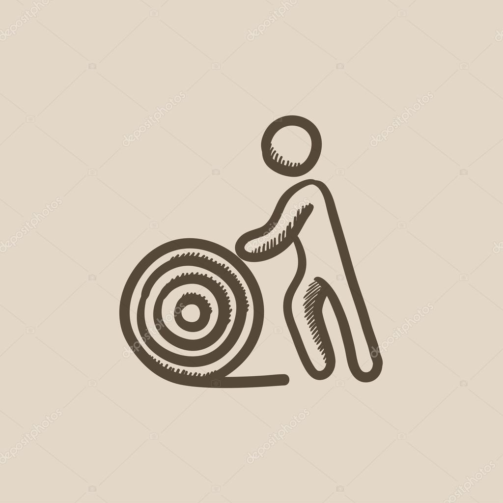 Mann mit Draht Spule Skizze Symbol — Stockvektor © rastudio #115043966