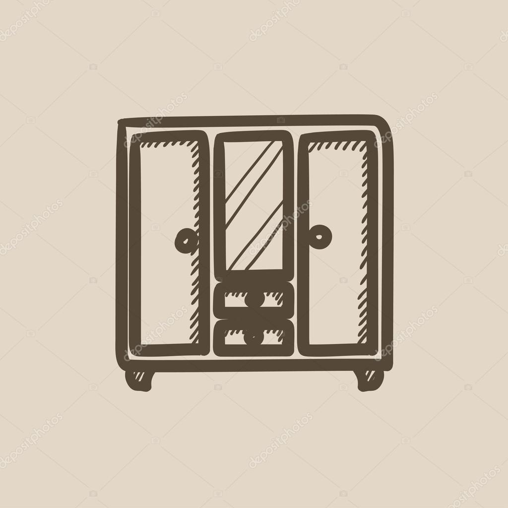 hand mirror sketch. Wardrobe With Mirror Vector Sketch Icon Isolated On Background. Hand Drawn Icon. For Infographic, A
