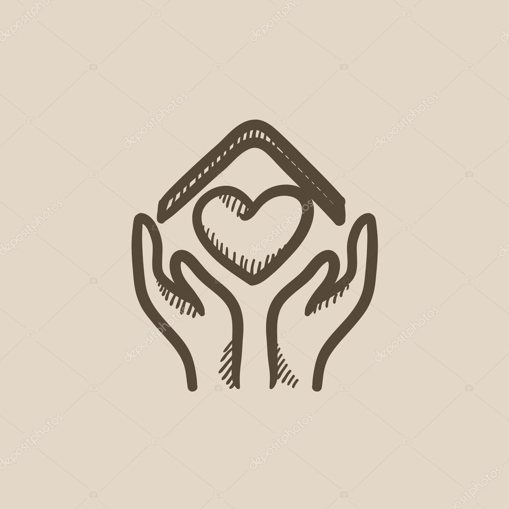 mains sur le toit de la maison et coeur croquis ic ne image vectorielle 115235802. Black Bedroom Furniture Sets. Home Design Ideas