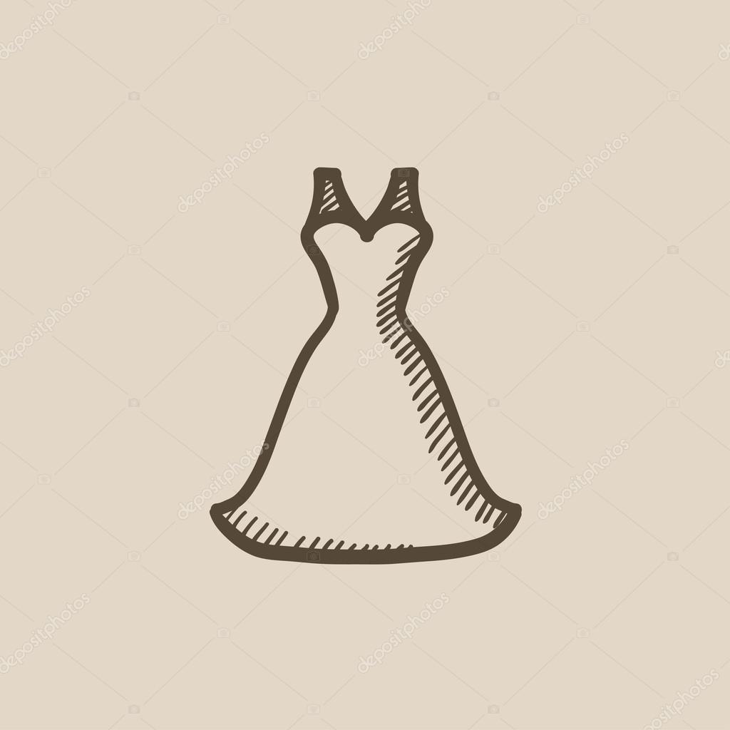 Wedding dress sketch icon. — Stock Vector © rastudio #115254666