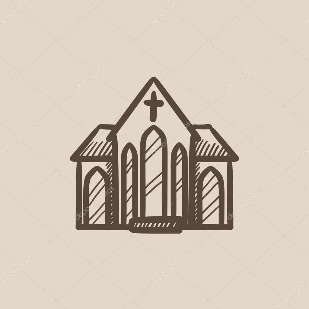 Kirche-Skizze-Symbol — Stockvektor © rastudio #115254706