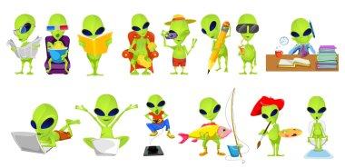 Vector set of green aliens hobby illustrations.