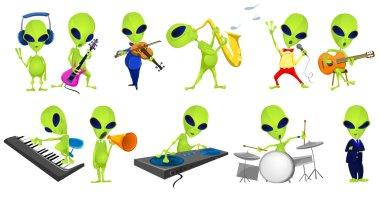 Vector set of green aliens music illustrations.