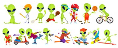 Vector set of green aliens sport illustrations.
