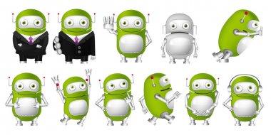 Vector set of green robots illustrations.