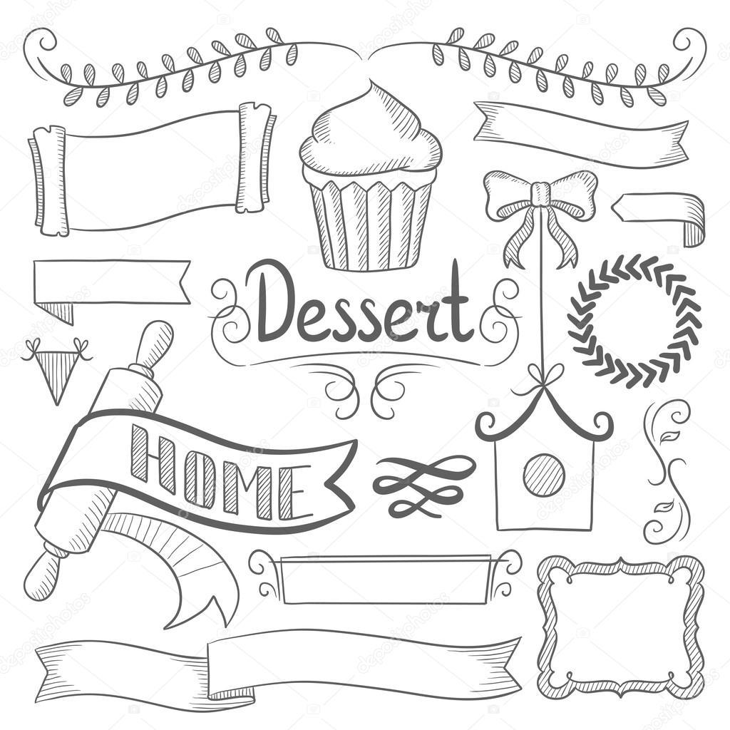 Conjunto de cintas, marcos para el menú de la panadería — Archivo ...