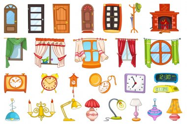 Vector set of house interior objects.
