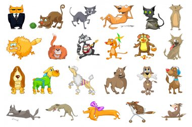 Vector set of cats and dogs illustrations.