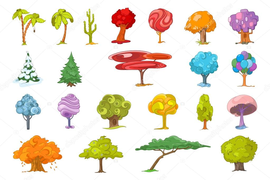 Vector set of various trees illustrations.