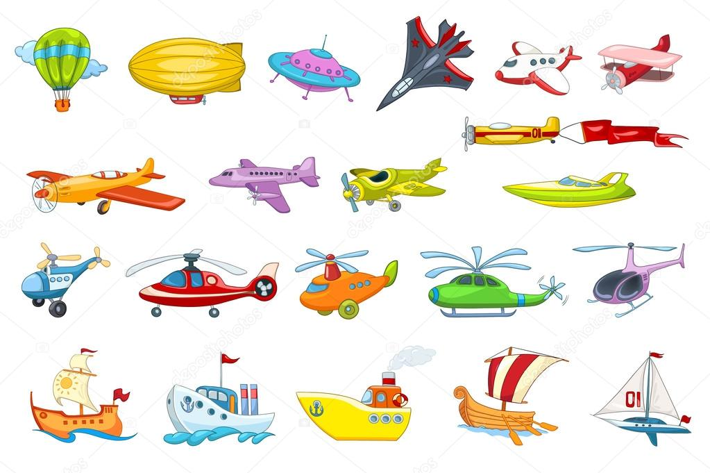 Vector Set Of Air And Water Transport Illustration