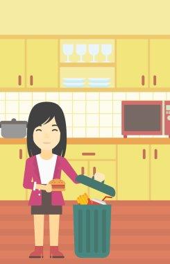 Woman throwing junk food vector illustration.