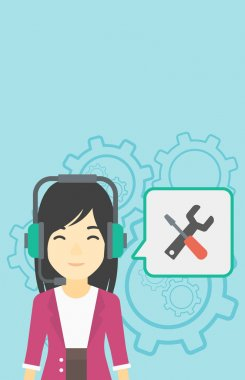 Technical support operator vector illustration.