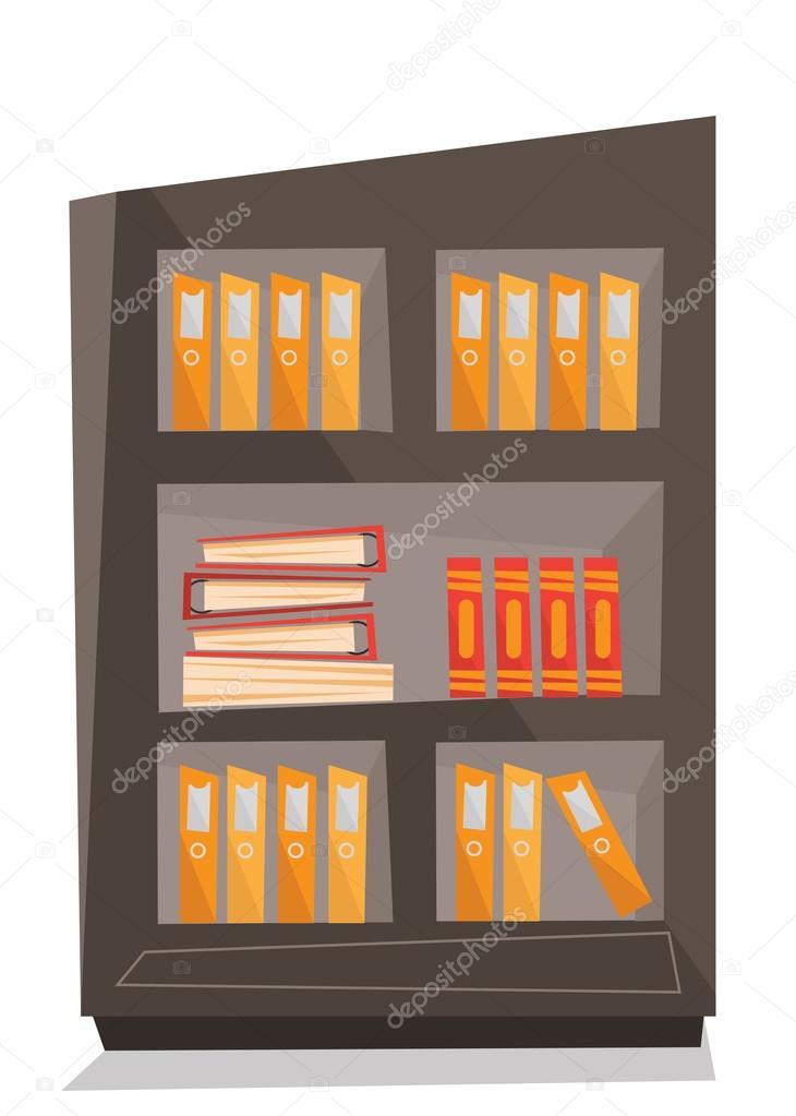 Estantes Para Archivos Oficina.Estantes De Oficina Con La Ilustracion De Vector De Carpetas