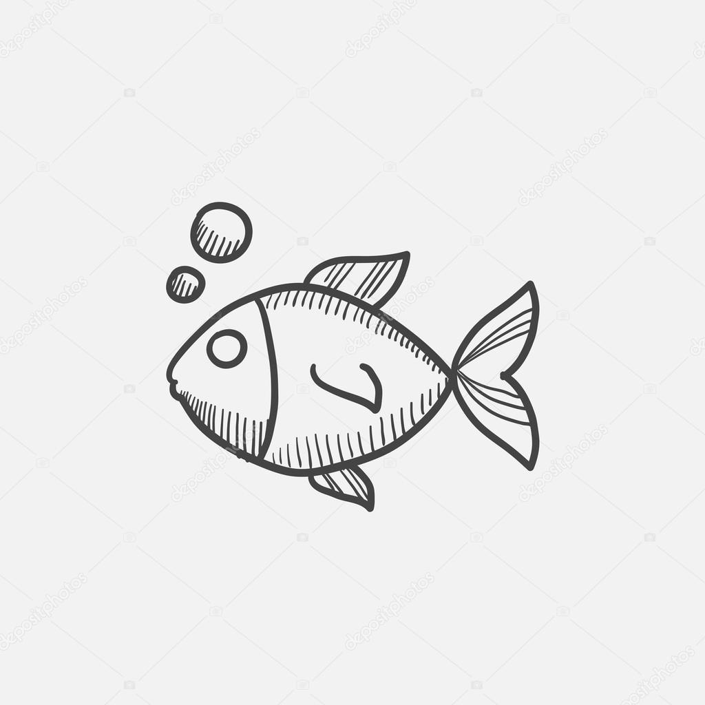Small Fish Drawing Small Fish Sketch Icon Stock Vector