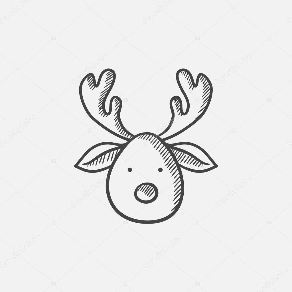 Weihnachten Hirsch skizzieren Symbol — Stockvektor © rastudio #118851620