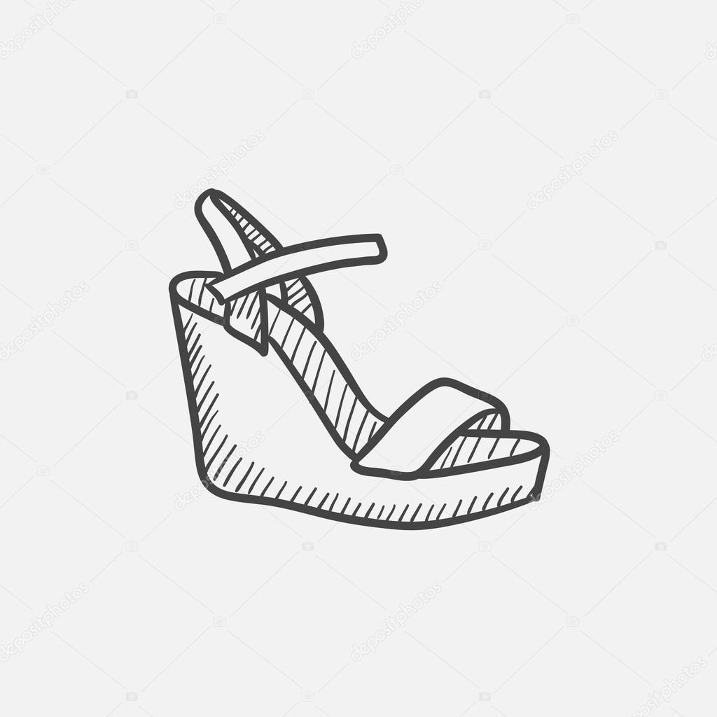 Sandalia Plataforma Vector De Icono Bosquejo Mujeres— xrdBoCeW