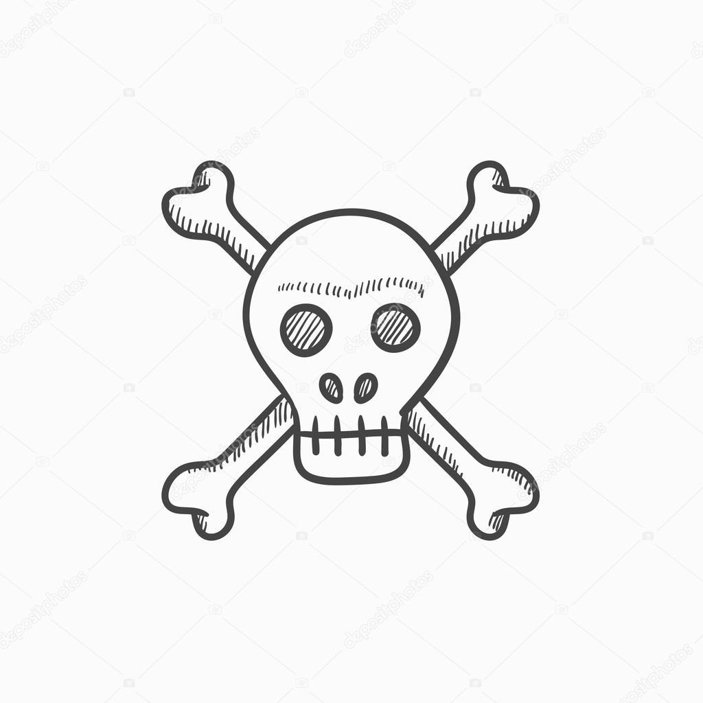 Los huesos del cráneo y la Cruz sketch icono — Vector de stock ...