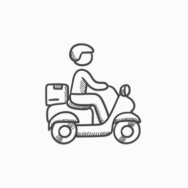 Man carrying goods on bike sketch icon.