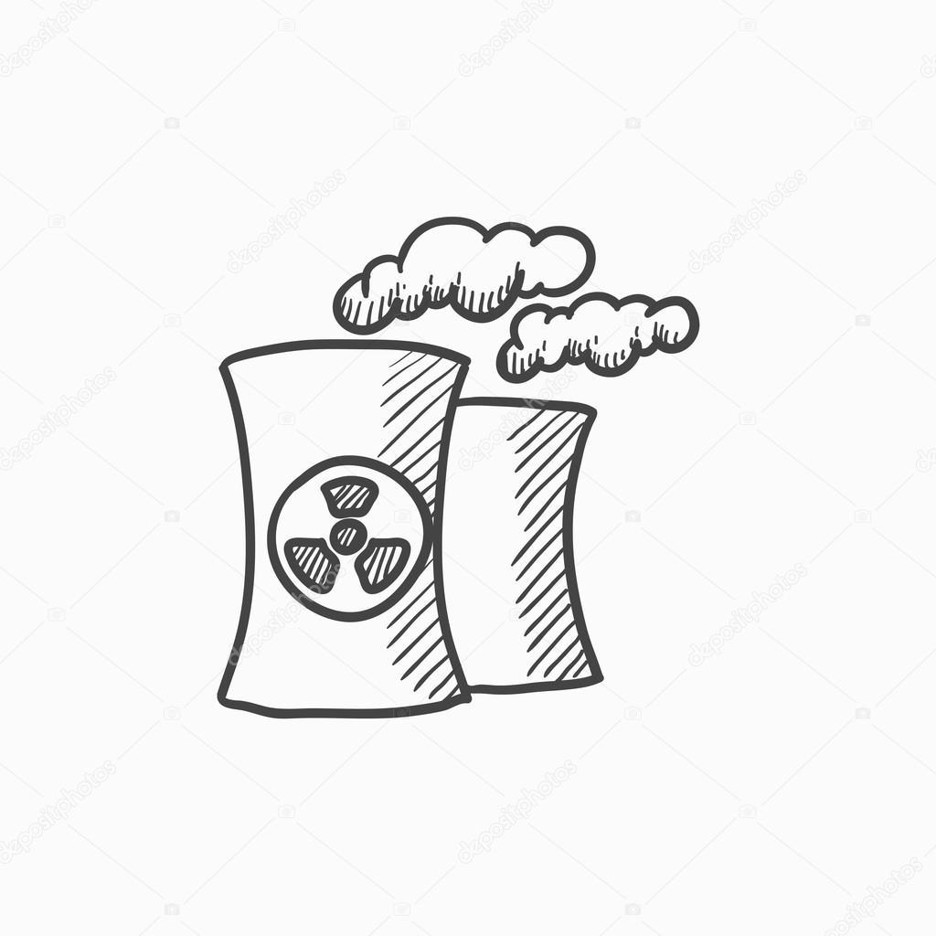 Icono De Dibujo De Planta De Energía Nuclear Archivo Imágenes